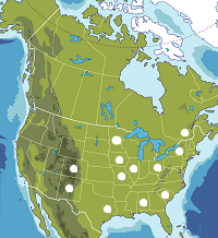 Map of North America, states and provinces.